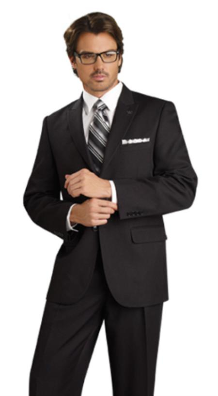 SKU#UX7390 Mens 2 Button Vented Jacket With Pleated Pant Executive Full Cut Suits Black