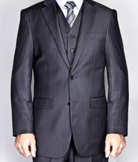 Black Pinstripe 2-Button Vested