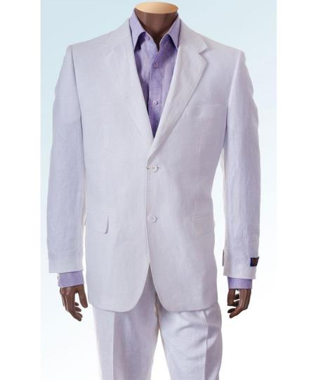 2 Button Mens Single Breasted Jacket White Linen Suit