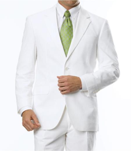 2-Button Seersucker Sear sucker suit Sale Fit Suit White on White Stripe ~ Pinstripe Notch Collar Shadow Ton on Ton Fabric Summer Suit