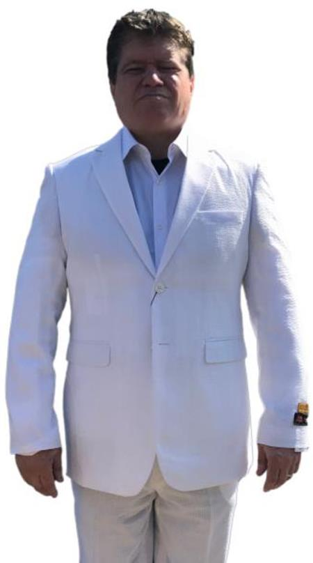 Alberto Nardoni White & White Seersucker Sear sucker suit 2 button Flat Front Pants Regular Fit Side Vented