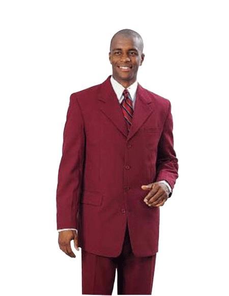 2 Button Wine Burgundy ~ Maroon Suit ~ Wine Color Men's Fashion 2 Piece Cheap Priced Business Suits Clearance Sale For Men (Not Long)