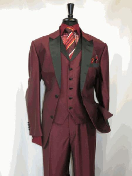 Mens Suit 2 Button Single Breasted Peak Sateen Lapel Two Toned Tuxedo Wine SharkSkin