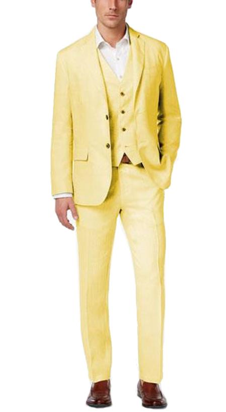 Alberto Nardoni Men's Summer Linen Fabric Vested Three 3 Piece Suit Jacket+ Pants + Yellow Color