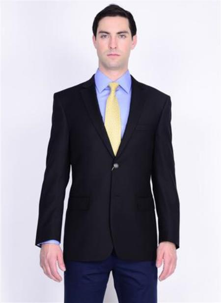 Buy AA356 Authentic Mantoni Brand Solid 2 Button 100% Wool Mens Blazer brass buttons Mens Jacket Spor Coat Black
