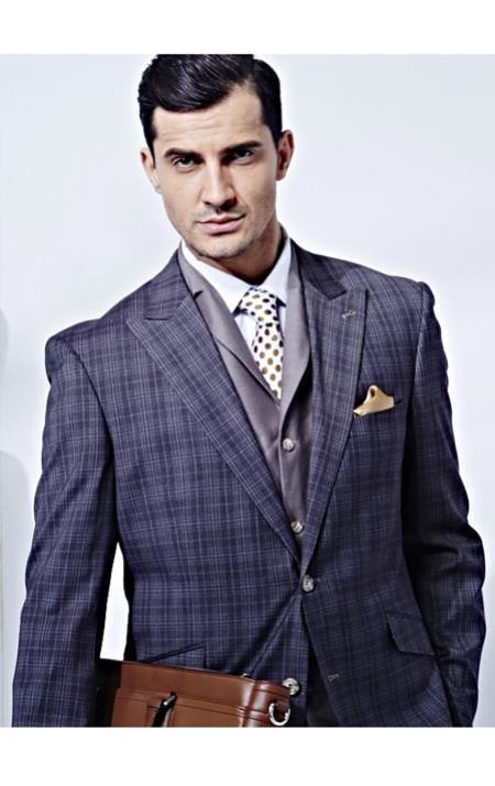 Mens Plaid Window Pane Pattern Blazer Sport Coat Jacket 2 Buttons Blac