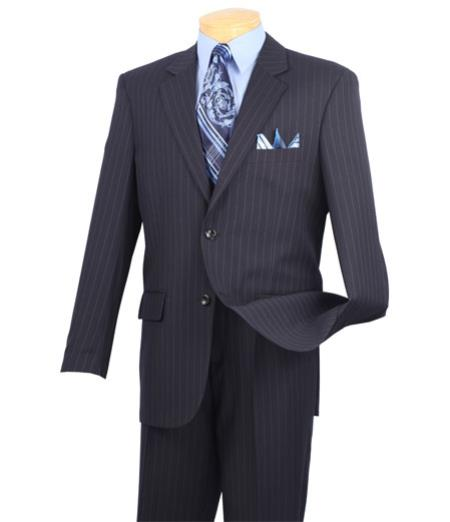 Mens Vinci 2 Button Dark Navy Blue Suit For Men Pinstripe Suit