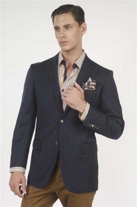 Buy AA355 Authentic Mantoni Brand Solid 2 Button 100% Wool Mens Blazer brass buttons Mens Jacket Sport coat Navy