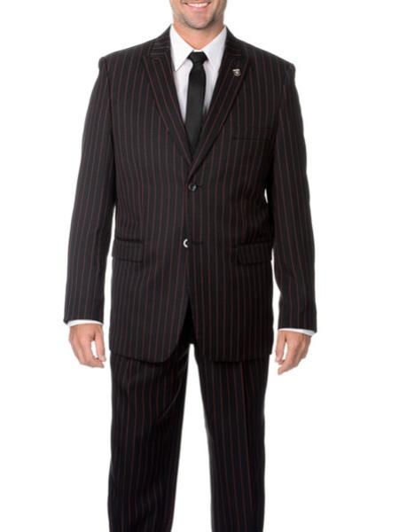 Mens Two  Black and Red Stripe 2 buttons Bold Chalk Pinstripe ~ Stripe  Peak Lapel Cheap Priced Business Suits Clearance Sale Vested 3 piece pleated pants