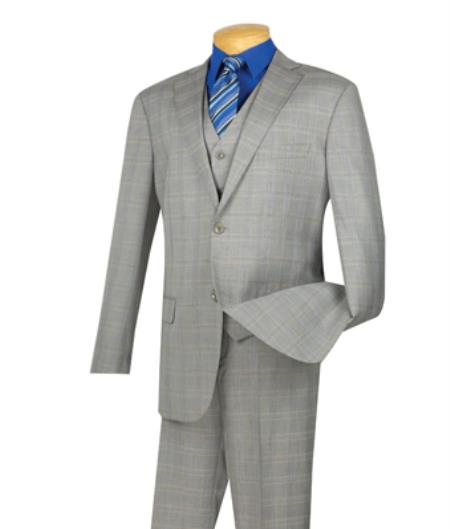 Mens Single Breasted 2 Buttons 3 Piece Side Vents Suit With Flat Front Pants Gray