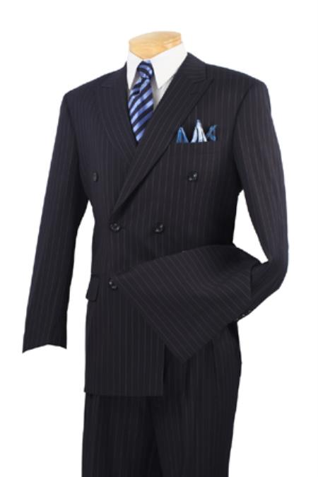 Mens Executive 6 On 2 Double Breasted Banker Pinstripe Dark Navy