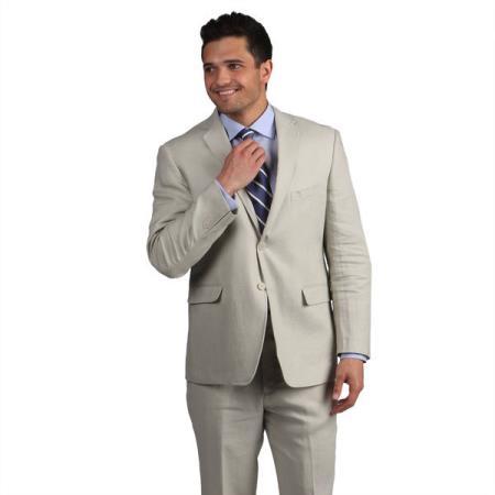 2 button Mens Tan Classic Linen Side Vent Suit
