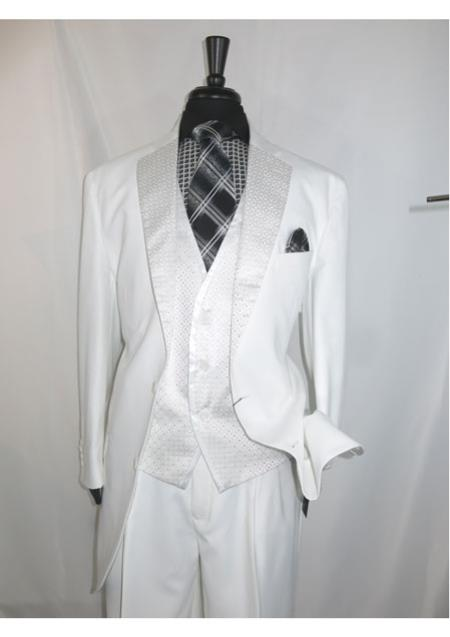 Mens 2 buttons Single Breasted Suit Vested Jacket White Chalk