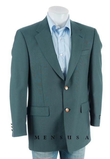SKU# MLR133 13-11/+26 Mens Teal Tournament Series Classically styled wool-blend blazer $179