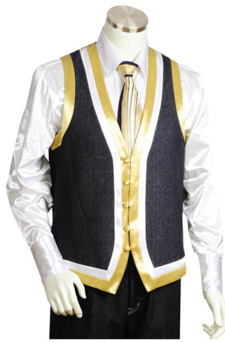 SKU#HL8291 Mens 2pc Black Denim Vest Sets With Urban Styled Jeans