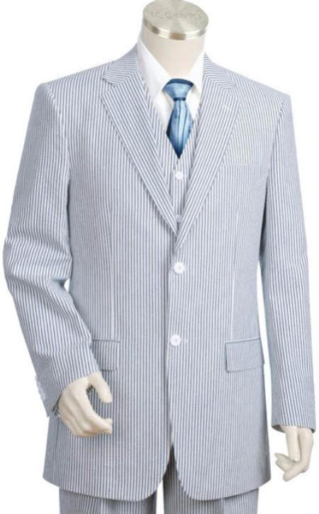 SKU#KA1462 Mens 2pc 100% Cotton Seersucker Suits BlueoffWhite