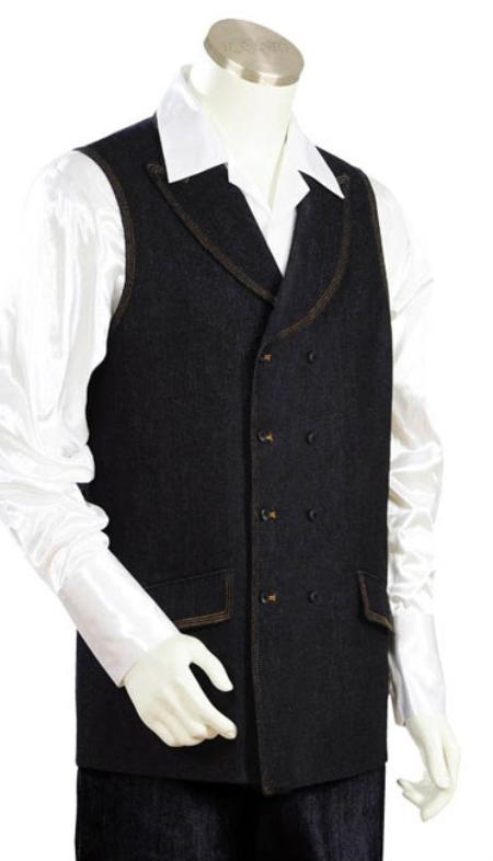 SKU#QW9023 Mens 2pc Denim Vest Sets - Black
