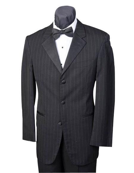 Men's Black Stripe ~ Pinstripe Three buttons 3 Button Striped Wool