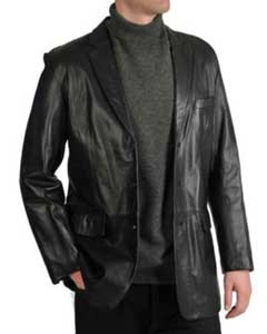 Mens Excelled Lamb Leather Three-Button Blazer Black