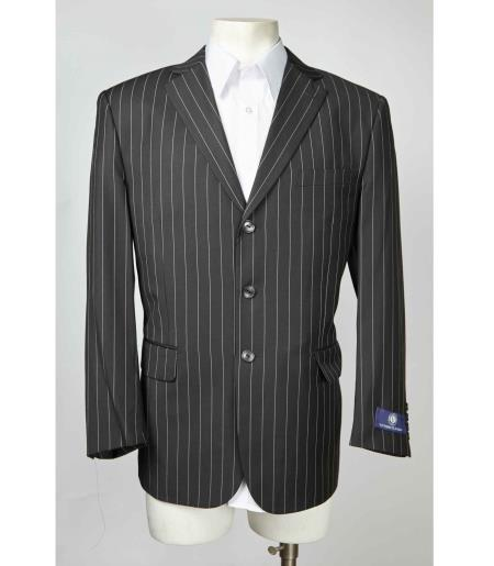Three Button Pinstripe Mens Notch Lapel Charcoal Single Breasted Blazer