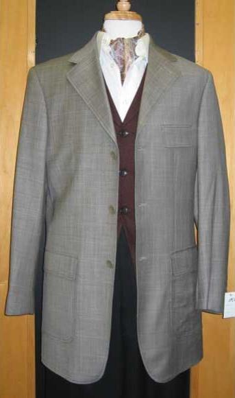 Testardi Brand 95% Wool,5% Cashmere Three Three ~ 3 Buttons Gray Checker Pattern Sport Jacket Blazer Coat