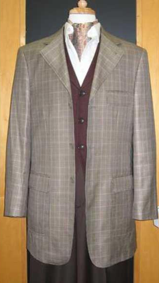 Testardi Brand Three Three ~ 3 Buttons Checker Pattern 95% Wool,5% Cashmere Sport Jacket Blazer Coat Grey