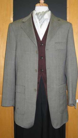 Testardi Brand Grey Three Three ~ 3 Buttons 95% Wool,5% Cashmere Checker Pattern Sport Jacket Blazer Coat