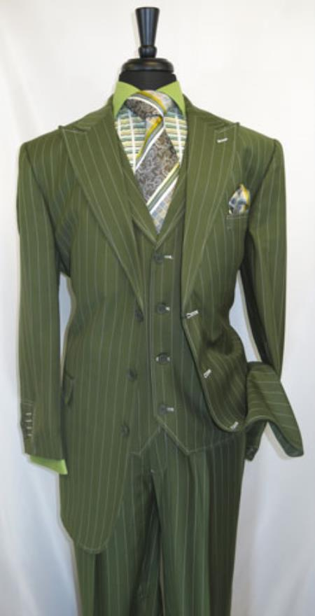 Vested 3 Button Single Breasted Cheap Priced Business Suits Clearance Sale and Wide Leg Pleated Pants Olive Green Stripe Bold Chalk Pinstripe