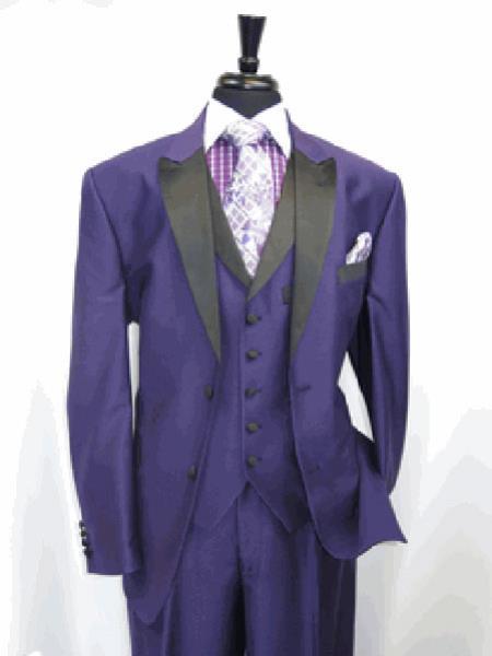 Mens Two Toned Tuxedo 3 Button Single Breasted Peak Lapel Suit Jacket SharkSkin Purple