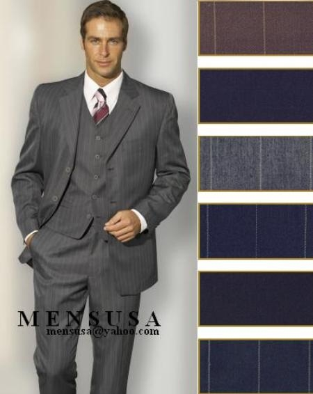 SKU# ZHSK Mens 3 Buttons Black With Midum Not Larege Pinstripe Italian Wool Feel Poly~Rayon Suit $175