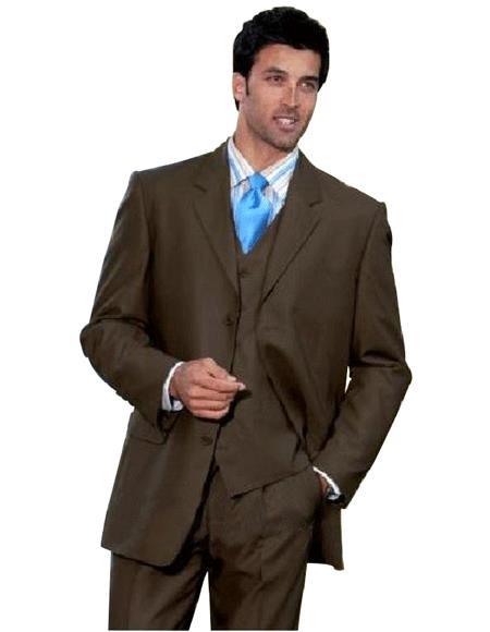 1 One Pleat Pants With 3 Buttons Dark Brown 3 ~ Three Piece Suit Super Light Weight V