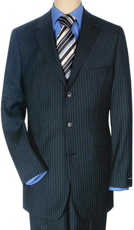 SKU# RSK2 Mens 3 Buttons Italian Small Navy Pinstripe premier quality italian fabric Super 140 Wool $225 Compare at