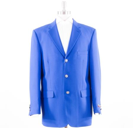 Mens Royal Blue 3 Button Blazer Three buttons Coat
