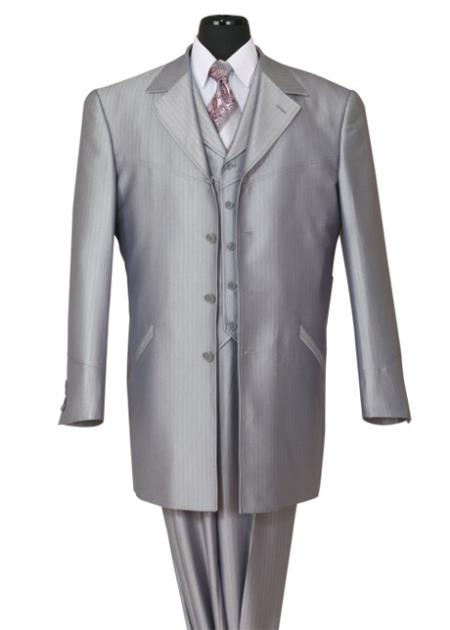 SKU#NG-13 Mens three piece low priced fashion outfits 4 Button 36 Inch Lengths Shark Skin Church Suit Silver With Stripe ~ Pinstripe