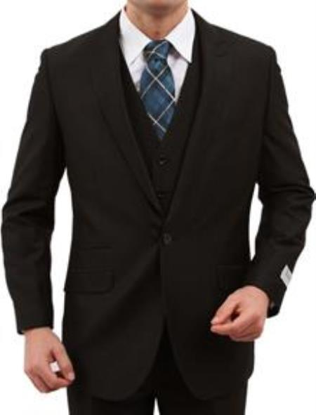 1Button Vested Peak Lapel Vested 3 Piece With sharskin Slim skinny Fitted Black (Buy Wholesale 10PC&UP of this for $90)