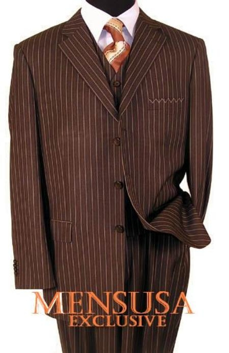 SKU# EMN775 Mens 3 Piece Brown Pinstripe Vested Dress Super 150s Extra Fine - premier quality italian fabric Design $159