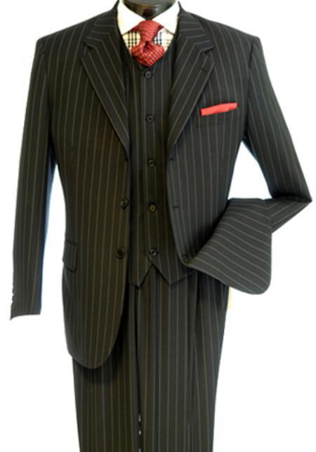 Sku#Bw3927 Mens 3 Piece Bold Chalk Pinstripe Black Three Piece Vested Suit