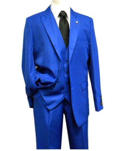Mens Falcone 3 Piece Fashion Dress Suits for Men Vett Vested Solid Royal