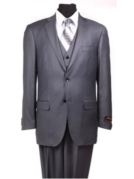 Charcoal Grey ~ Blue ~ Dark Navy Stripe ~ Pinstripe Vested Mens 3 Piece Suit No pleated pants Side vented regular cut Conservative