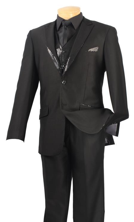 SKU#5C99 Mens Satin Shiny 3 Piece Tuxedo - Fancy Sequin Jacket and Vest Black