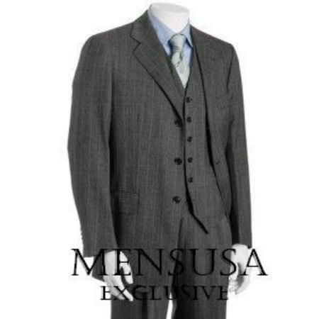 SKU#BER_28  Mens 3 Piece Vested 3 Button Charcoal three piece suit Vested 3 Piece Super 150s Wool Feel Poly~Rayon premier quality italian fabric Mens Dress Suit $199