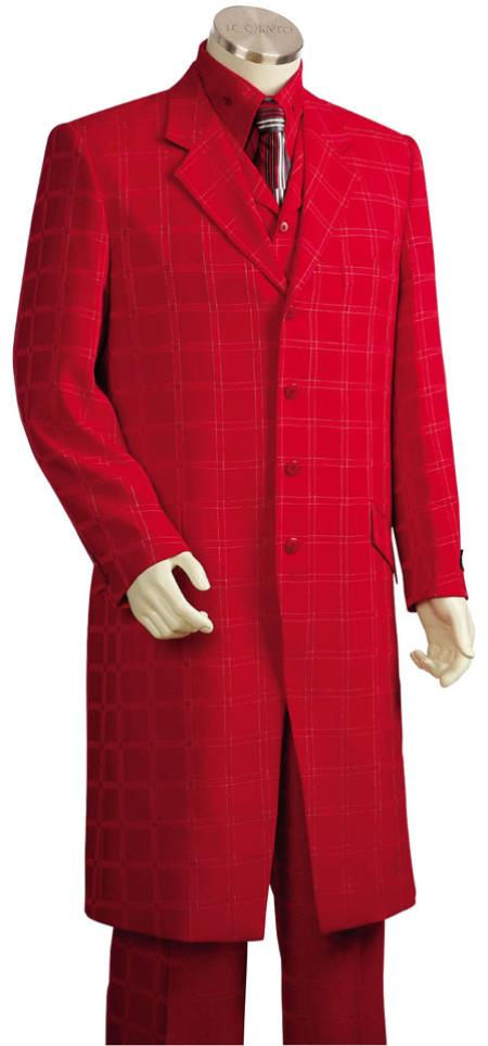 Mens Red tone on tone Shadow Stripe Window Pane Plaid Zoot Vested 3 Piece Suit