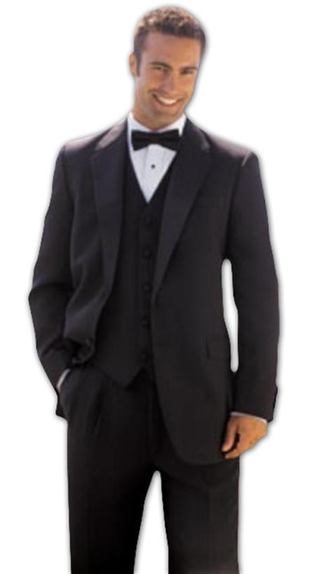 1 Button Solid - plain Soft 3 Pieces Vested Tuxedo Super 150's Wool Suit + Tuxedo Shirt