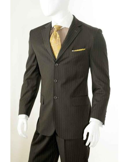 Three button Banker Chalk Pinstripe ~ Stripe Notch Lapel Pleated Pants Athletic Cut Brown