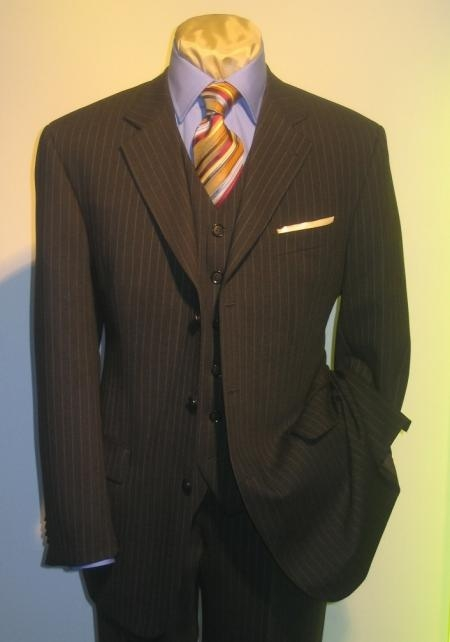 SKU# VT227 Mens 3 Piece Black Pinstripe Vested Italian Fabric Wool Feel Extra Fine Poly~Rayon 3 Button $595