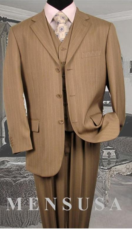 SKU#GTL754 Mens 3 Piece Tan ~ Beige/Beige Pinstripe Vested Available 2 Button Style Jacket
