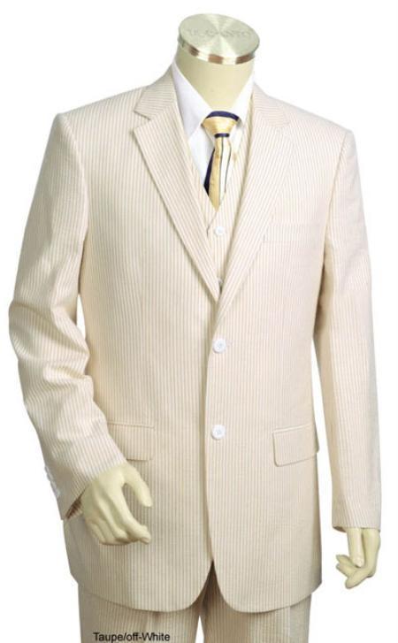 SKU#KA3417 Mens 3pc 100% Cotton Seersucker Suits Taupe