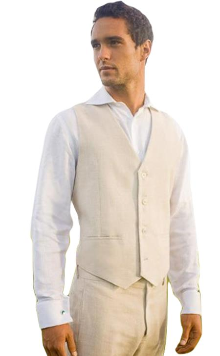 100% linen beach wedding tuxedo 2 slit pocket  4 button V-neck tuxedo vest for men