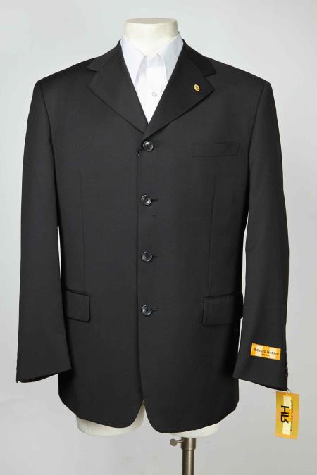 Mens Notch Lapel 4 Button Single Breasted Black Blazer