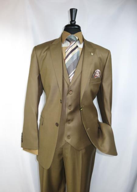 Mens Falcone Peak Lapel 4 Button Label Vest Suit Jacket Light Brown